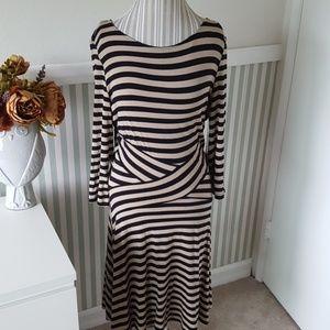 NWT ECI Striped  3/4 sleeve work career dress XL